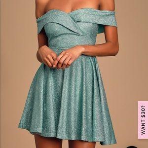 Mint Blue/Green Off the Shoulder Glitter Dress
